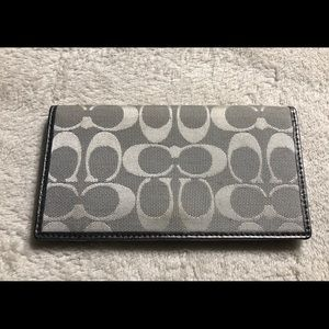 Coach grey checkbook cover